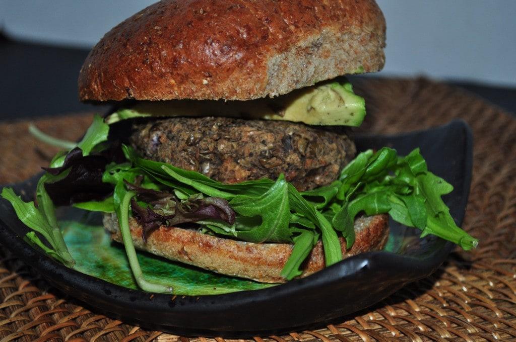 mushroom lentil veggie burger