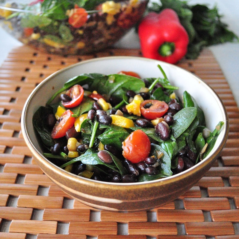 black bean spinach salad