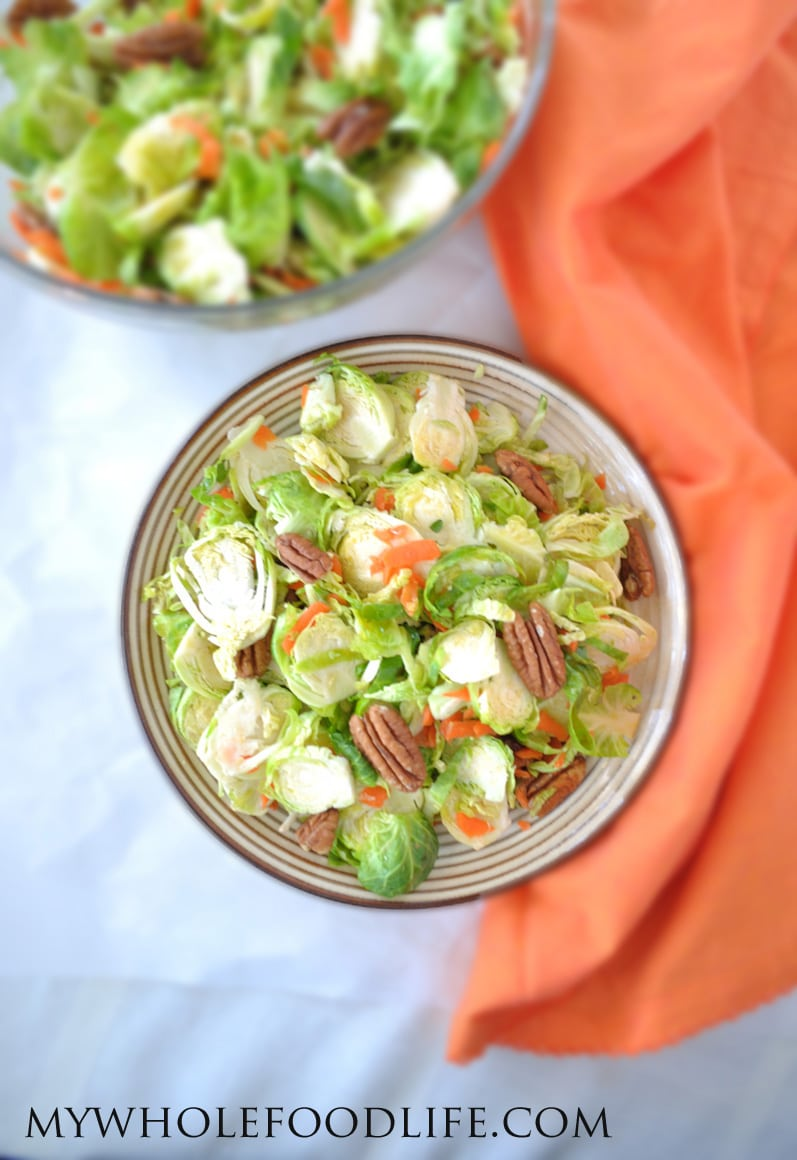 Brussel Sprouts Salad with Orange Ginger Dressing - My Whole Food Life