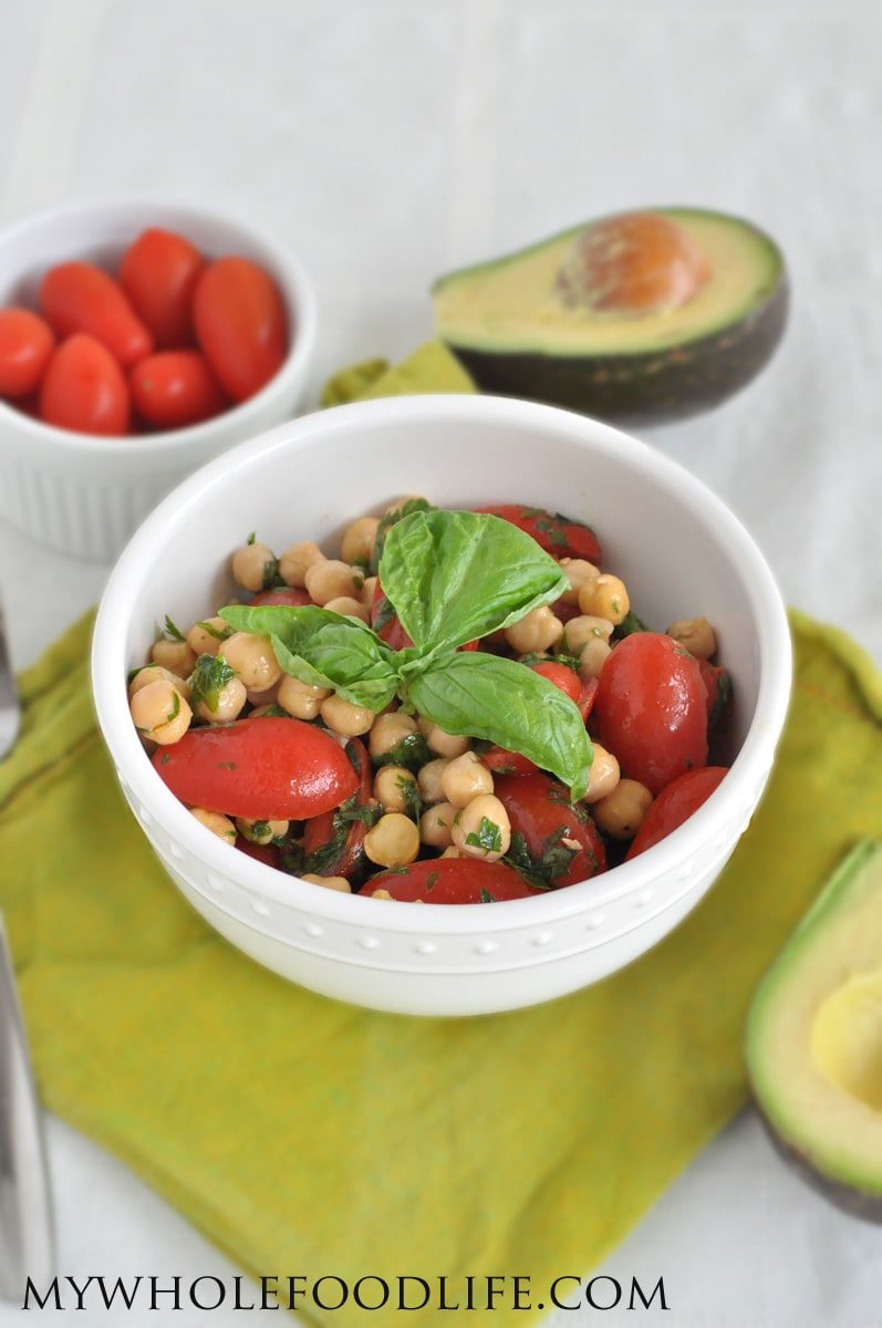 Summer Salad with Chickpeas, Tomato and Basil - My Whole Food Life