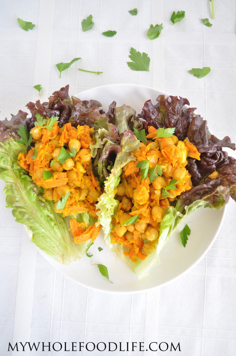 Chickpea Curry Lettuce Wraps - My Whole Food Life