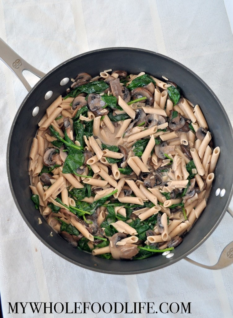 Creamy Spinach Mushroom Pasta - My Whole Food Life