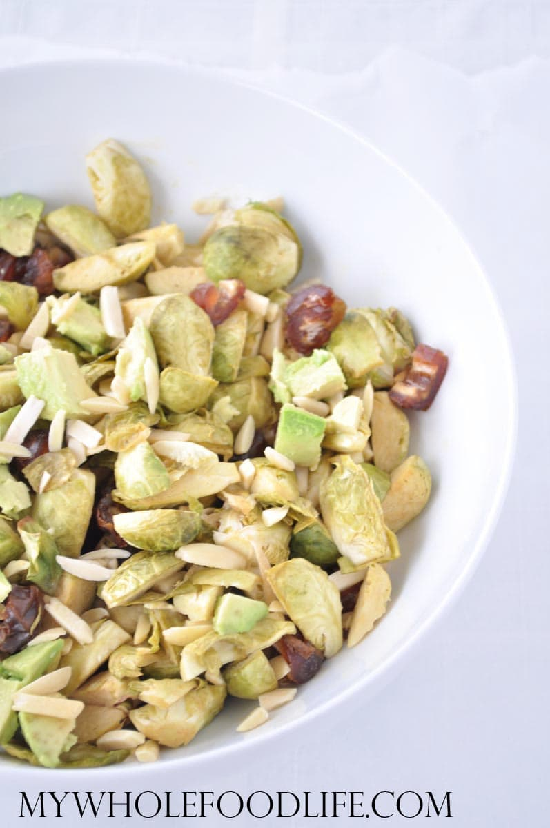 Brussels sprouts salad with Almonds and Dates- My Whole Food Life
