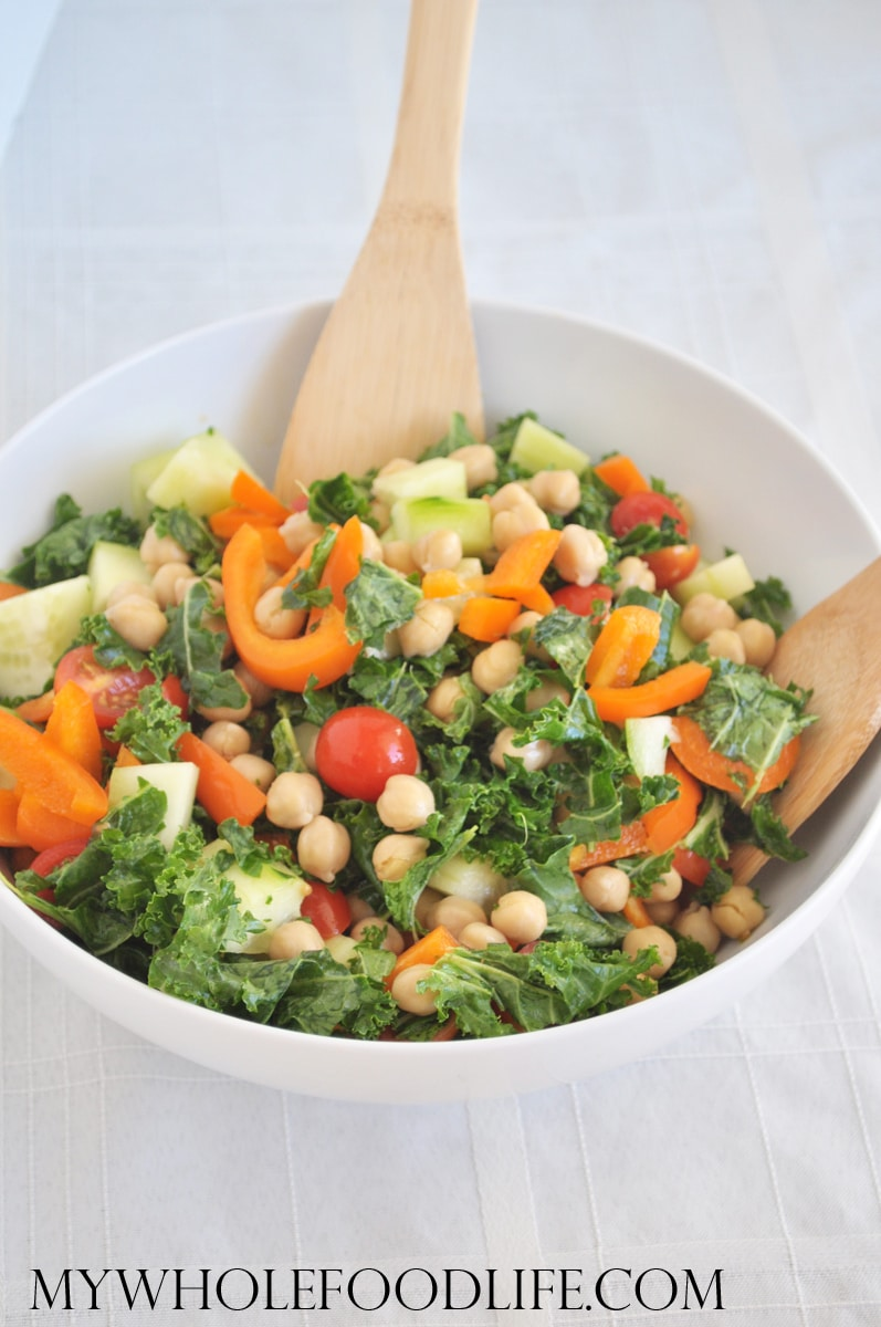 Balsamic Kale Chickpea Salad - My Whole Food Life