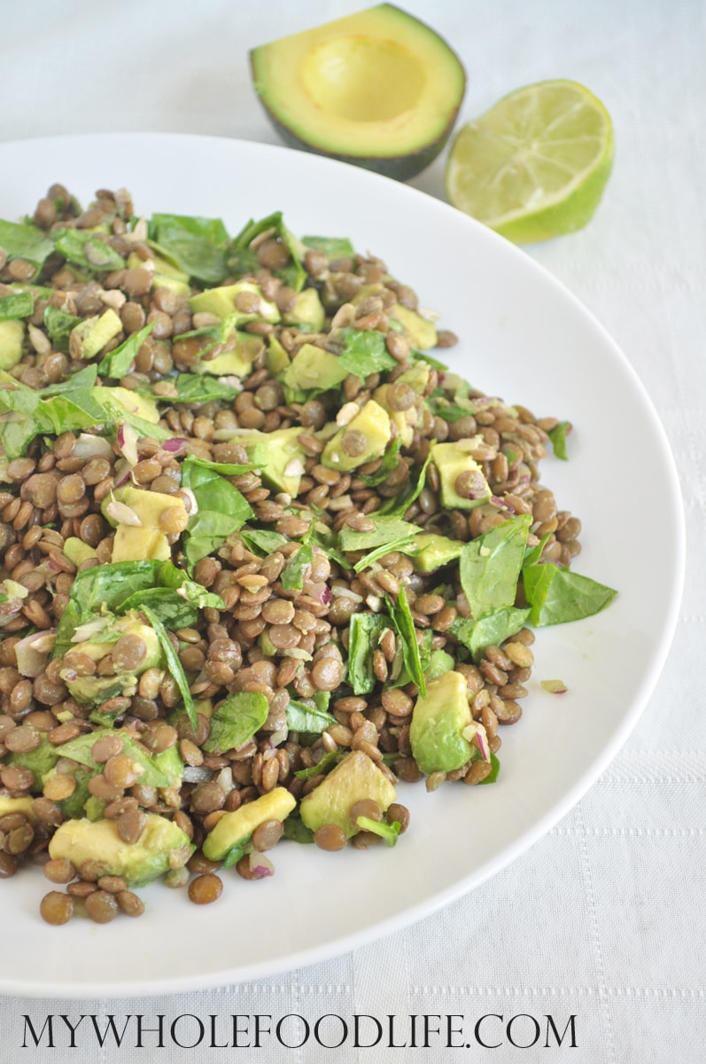 Lentil Spinach Salad with Avocado - My Whole Food Life