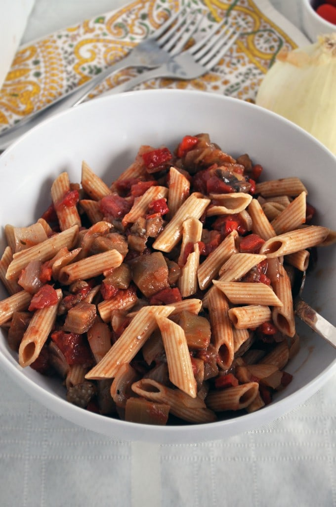 Roasted Pepper Eggplant Pasta