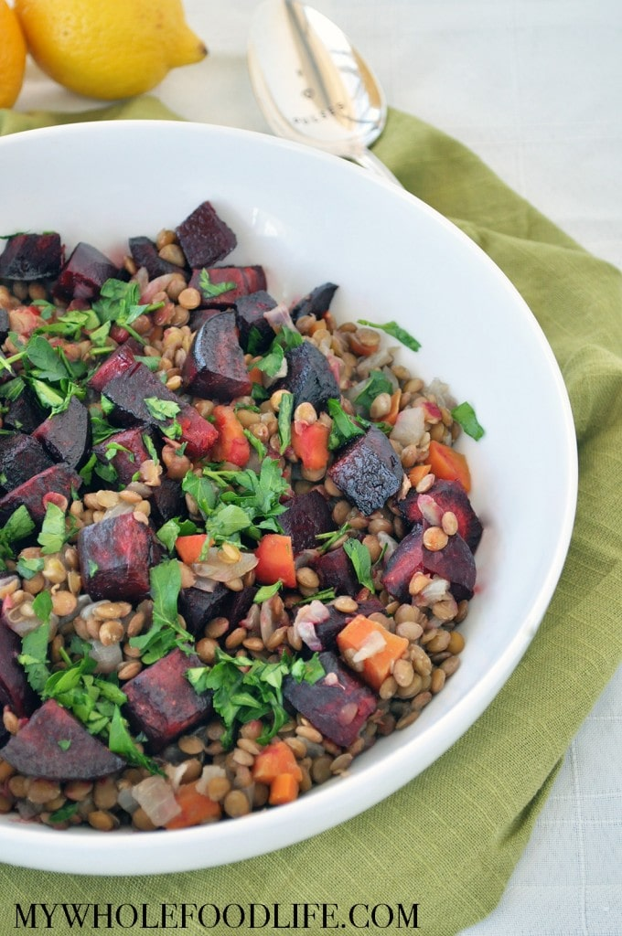 Lentils with Roasted Beets and Lemon 2 - My Whole Food Life