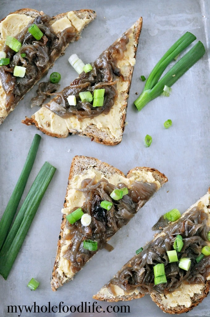 Pea Puree and Caramelized Onion Toast - My Whole Food Life