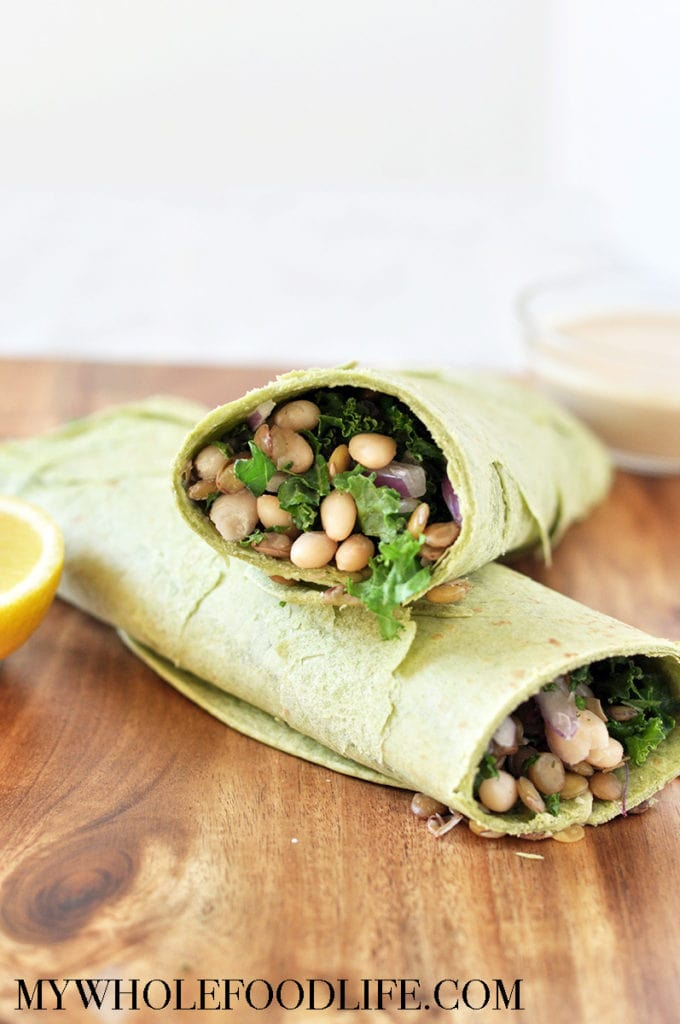 white bean and kale wrap