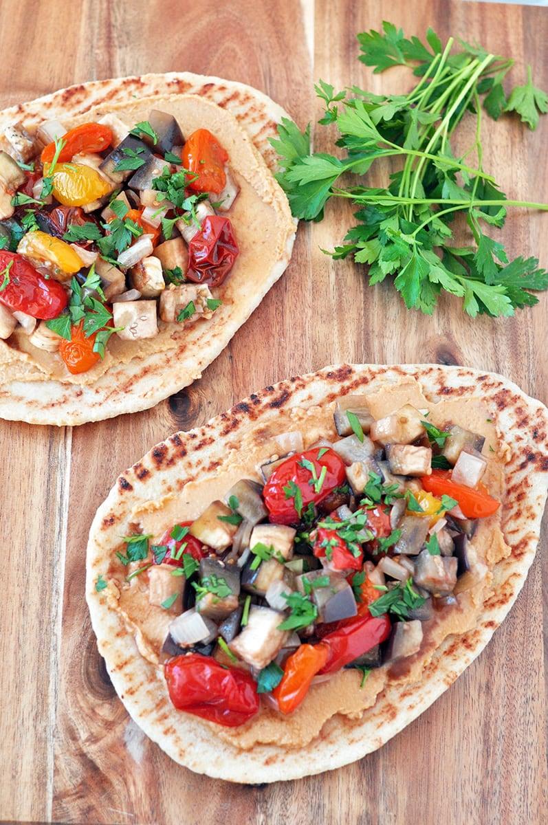 Roasted Vegetable Hummus Pizza My Whole Food Life