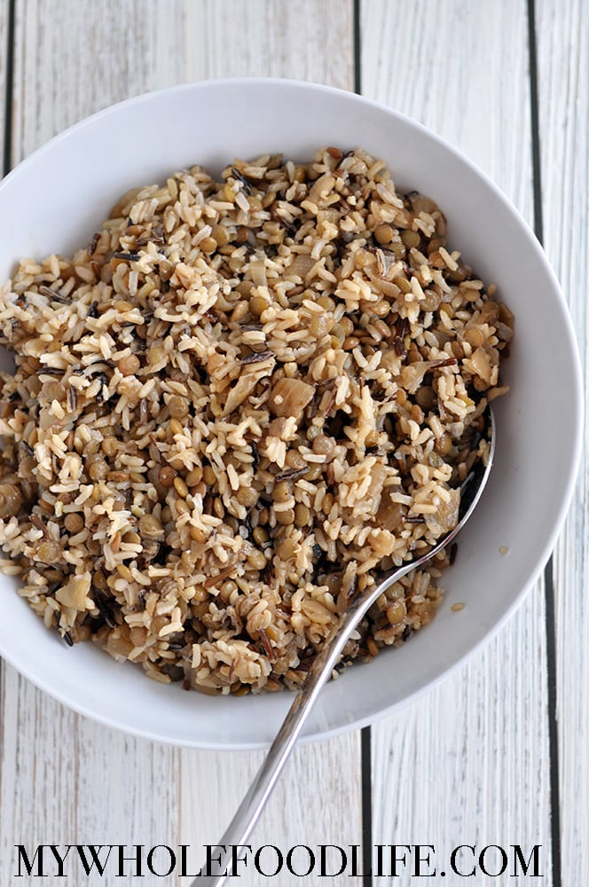 Wild Rice Lentils and Caramelized Onions