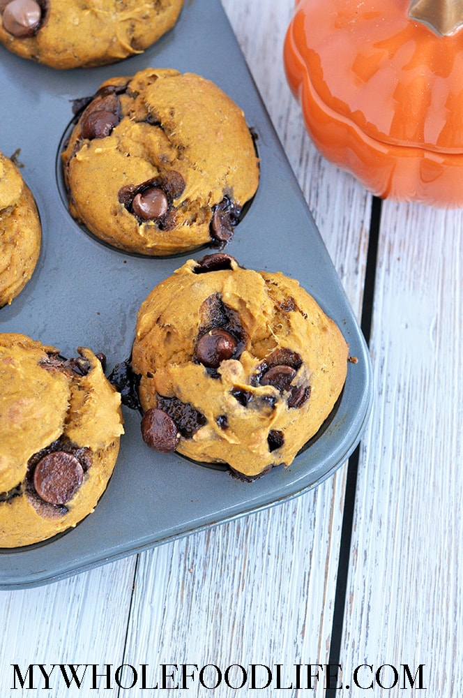 Pumpkin Spice Banana Chocolate Chip Muffins