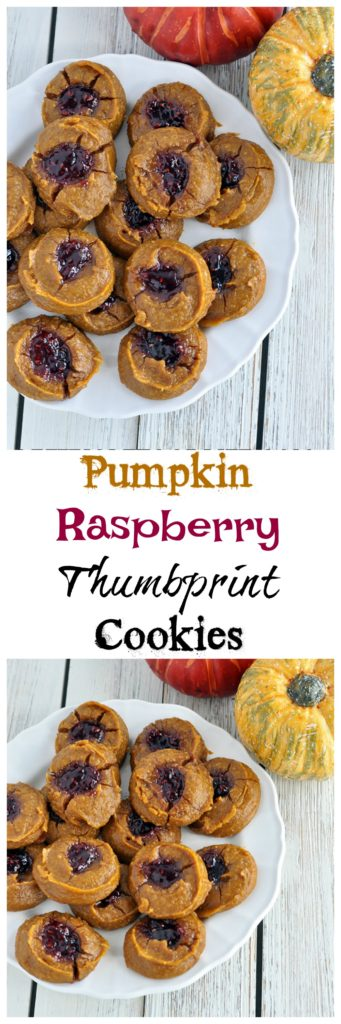 Pumpkin Raspberry Thumbprint Cookies